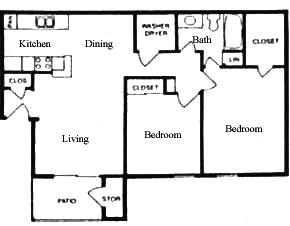 857 sq. ft. B floor plan