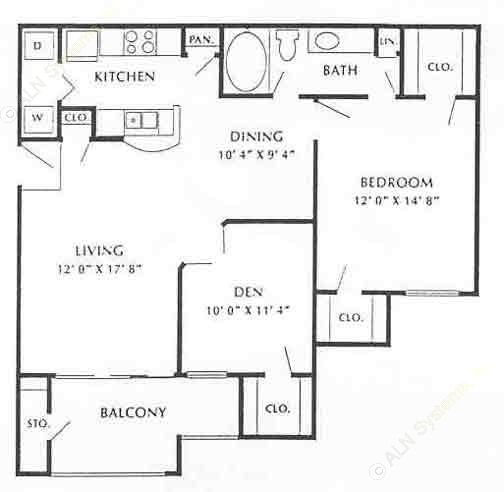 934 sq. ft. Montclair floor plan