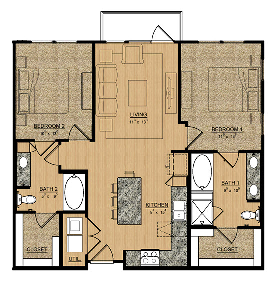 1,054 sq. ft. Daisy floor plan