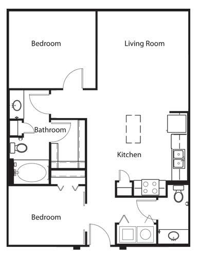 908 sq. ft. A5 floor plan