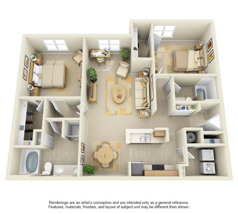 1,246 sq. ft. B3 floor plan