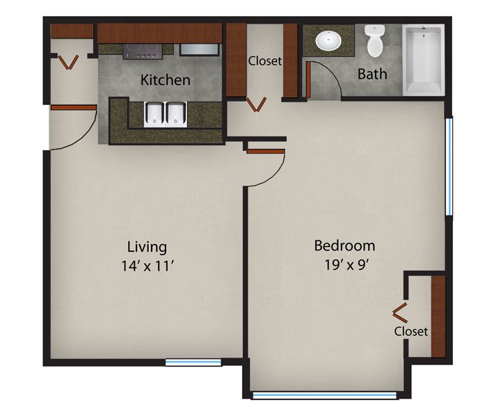 552 sq. ft. to 582 sq. ft. Hawthorne-A3 floor plan