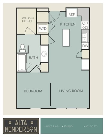 651 sq. ft. EA-1 floor plan