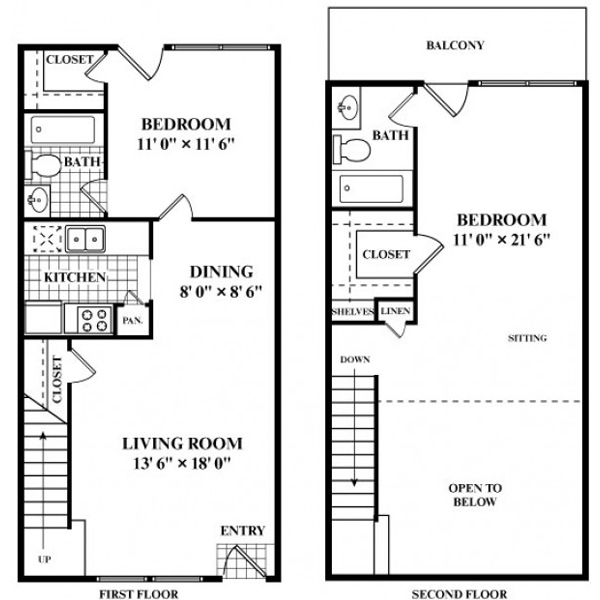 996 sq. ft. to 1,021 sq. ft. S3 floor plan