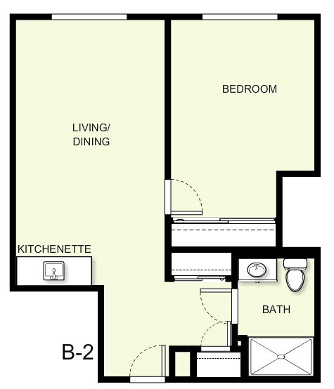 612 sq. ft. B2 floor plan