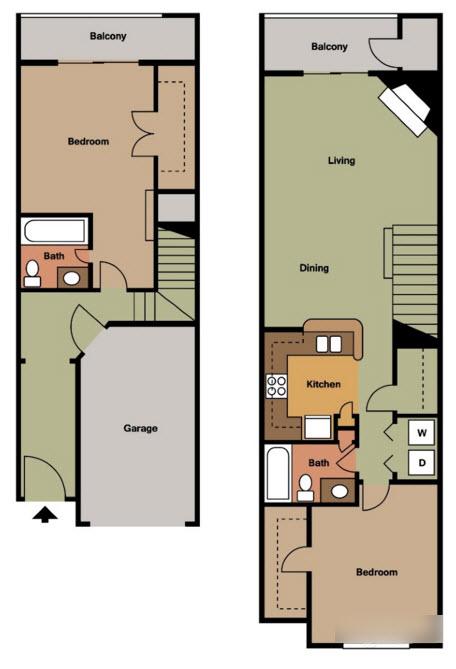 1,103 sq. ft. H TH floor plan