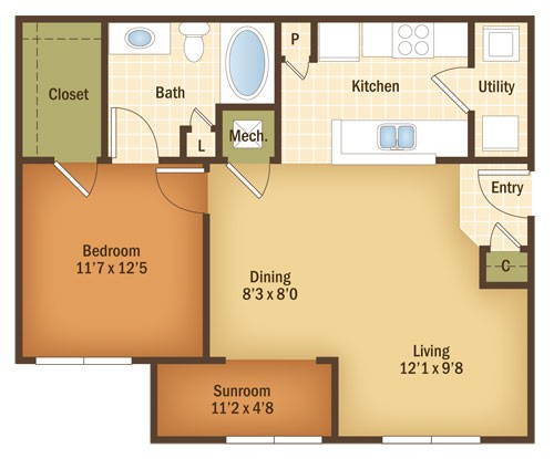844 sq. ft. ACACIA floor plan