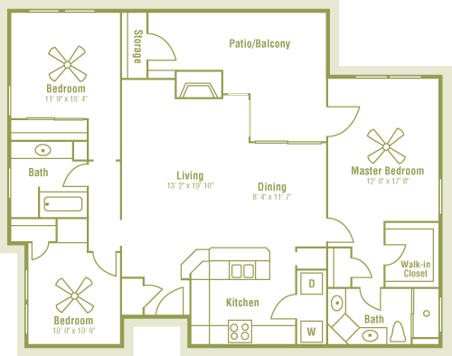 1,360 sq. ft. floor plan