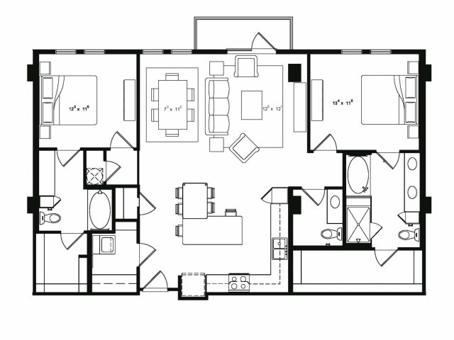 1,482 sq. ft. B5 floor plan