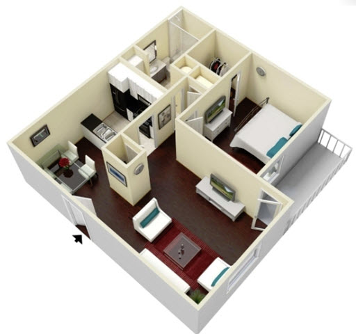 657 sq. ft. Palm floor plan
