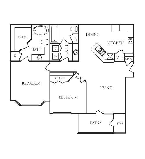 995 sq. ft. Rockwell floor plan