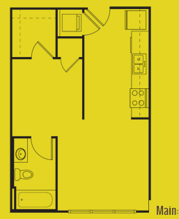 500 sq. ft. Main floor plan