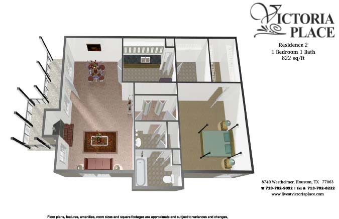 822 sq. ft. B floor plan