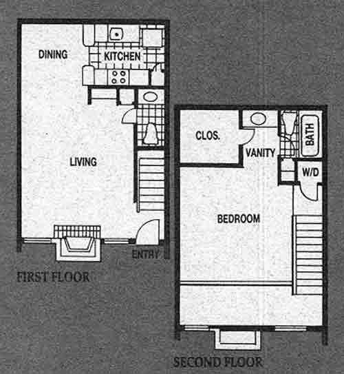 800 sq. ft. A6 floor plan
