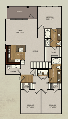 1,596 sq. ft. C1 floor plan