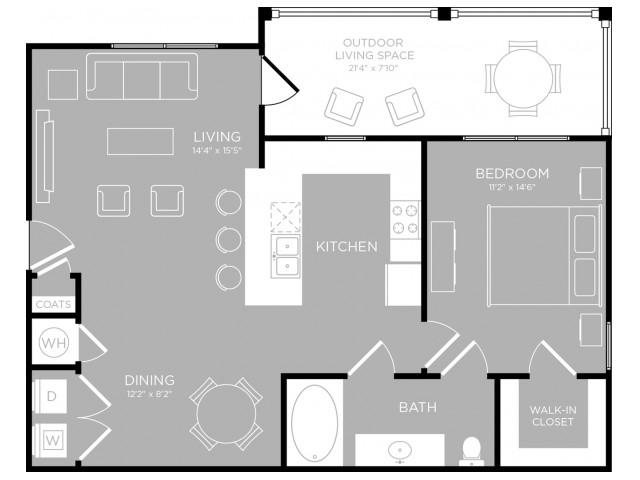 804 sq. ft. Barton A2 floor plan