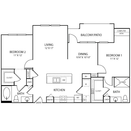 1,154 sq. ft. Riez floor plan