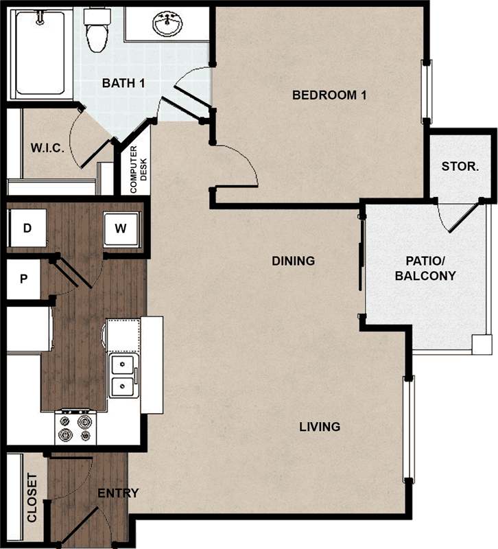 752 sq. ft. A1B floor plan