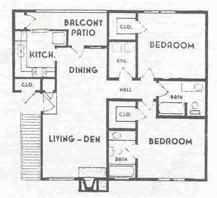 900 sq. ft. B2 floor plan