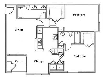 998 sq. ft. D1 floor plan