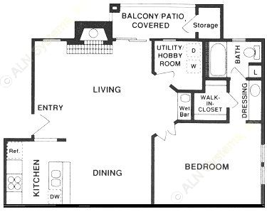 815 sq. ft. A1/A2 floor plan