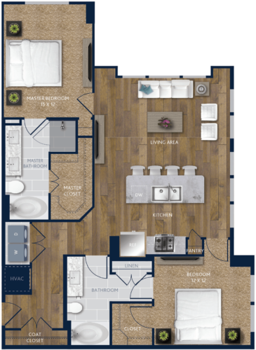 1,237 sq. ft. B3 floor plan