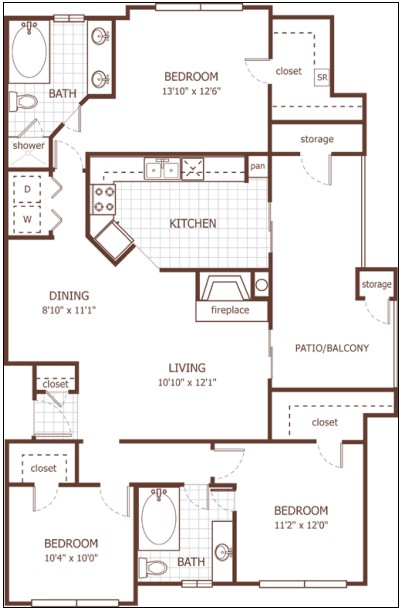1,384 sq. ft. Greenwich floor plan