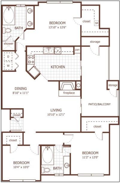 1,384 sq. ft. Greenwich floor plan