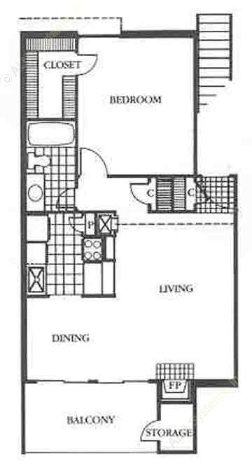 687 sq. ft. Regency floor plan