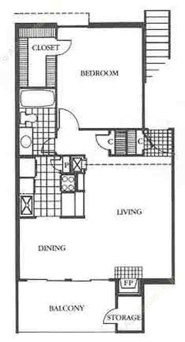 687 sq. ft. Regency floor plan