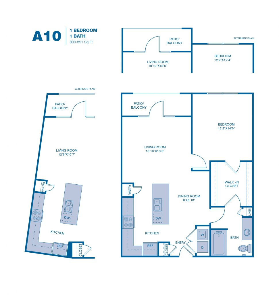 800 sq. ft. A10 floor plan