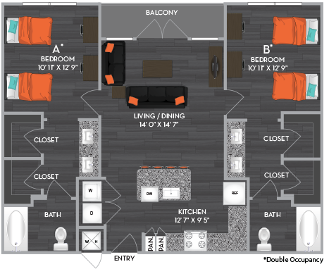999 sq. ft. B1-Shared floor plan