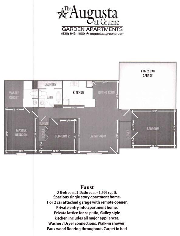 1,300 sq. ft. Faust floor plan