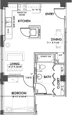 577 sq. ft. Calhoun 60% floor plan