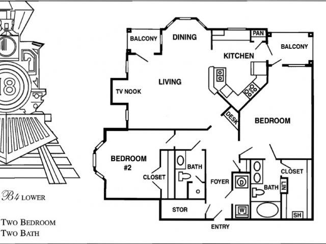 1,248 sq. ft. B9 floor plan