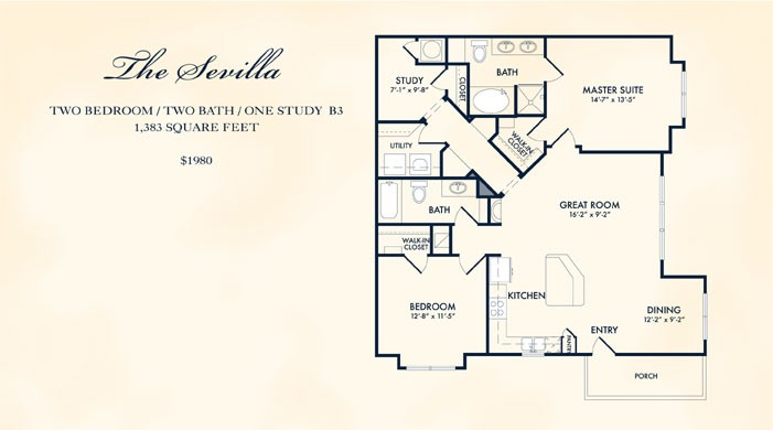 1,383 sq. ft. Sevilla floor plan