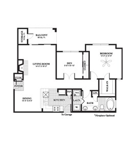 956 sq. ft. to 1,035 sq. ft. Mimosa floor plan