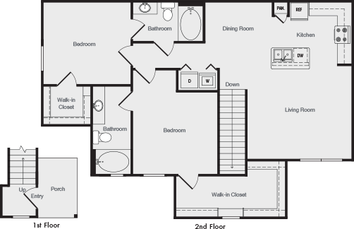 1,192 sq. ft. B3 floor plan