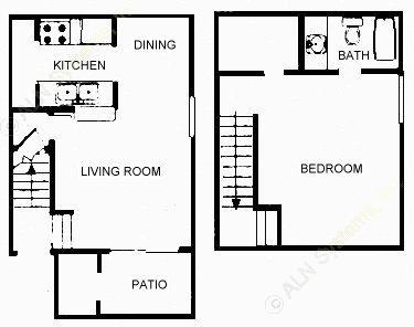 732 sq. ft. 1D/E floor plan