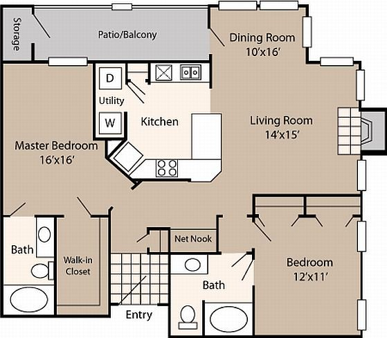 1,186 sq. ft. to 1,205 sq. ft. B4 floor plan