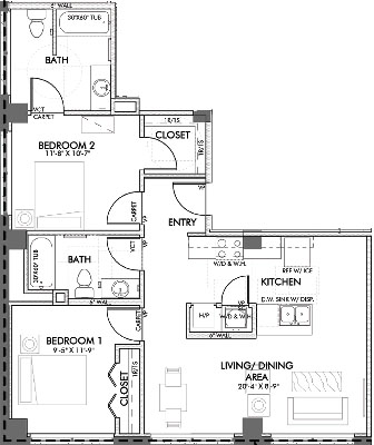 947 sq. ft. Monroe.1HC floor plan