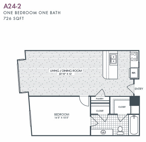 726 sq. ft. A24-2 floor plan