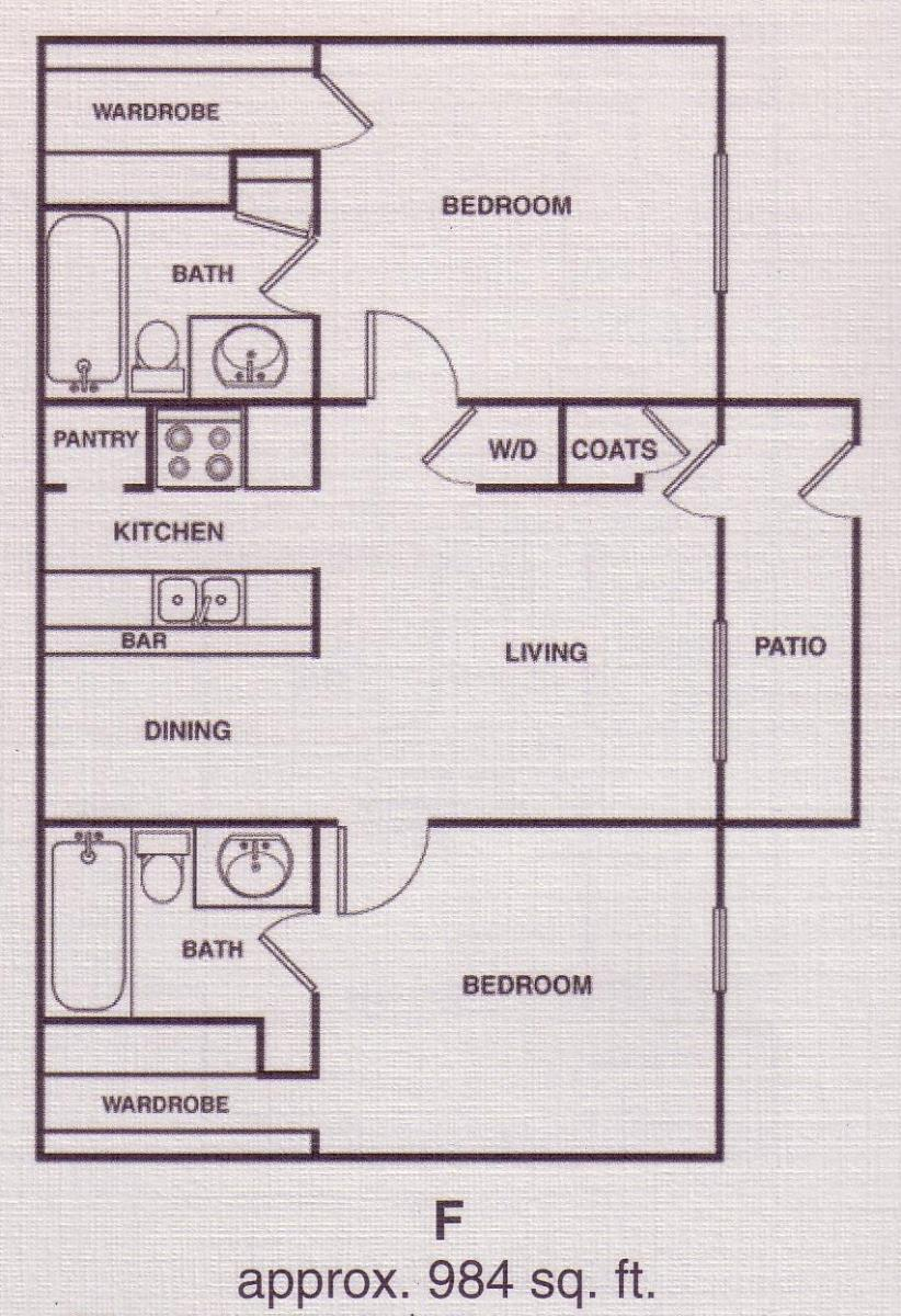 984 sq. ft. C2 floor plan