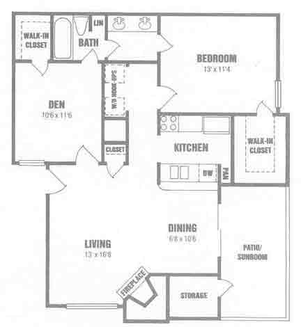 997 sq. ft. B0 w/Den floor plan