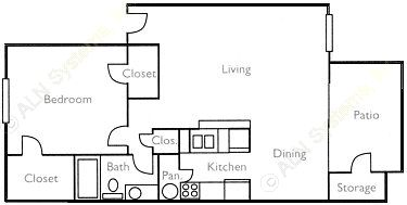 752 sq. ft. Shady Elm floor plan
