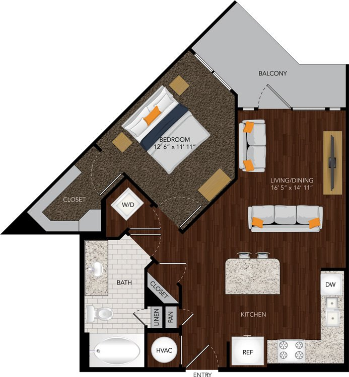 664 sq. ft. A6 floor plan