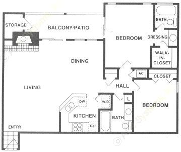 1,091 sq. ft. B3 floor plan