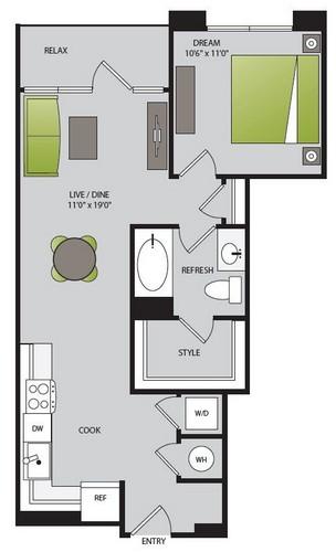 845 sq. ft. A1.2 floor plan