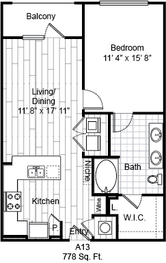778 sq. ft. A13 floor plan