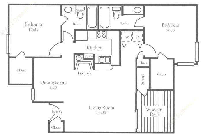 983 sq. ft. B3 floor plan